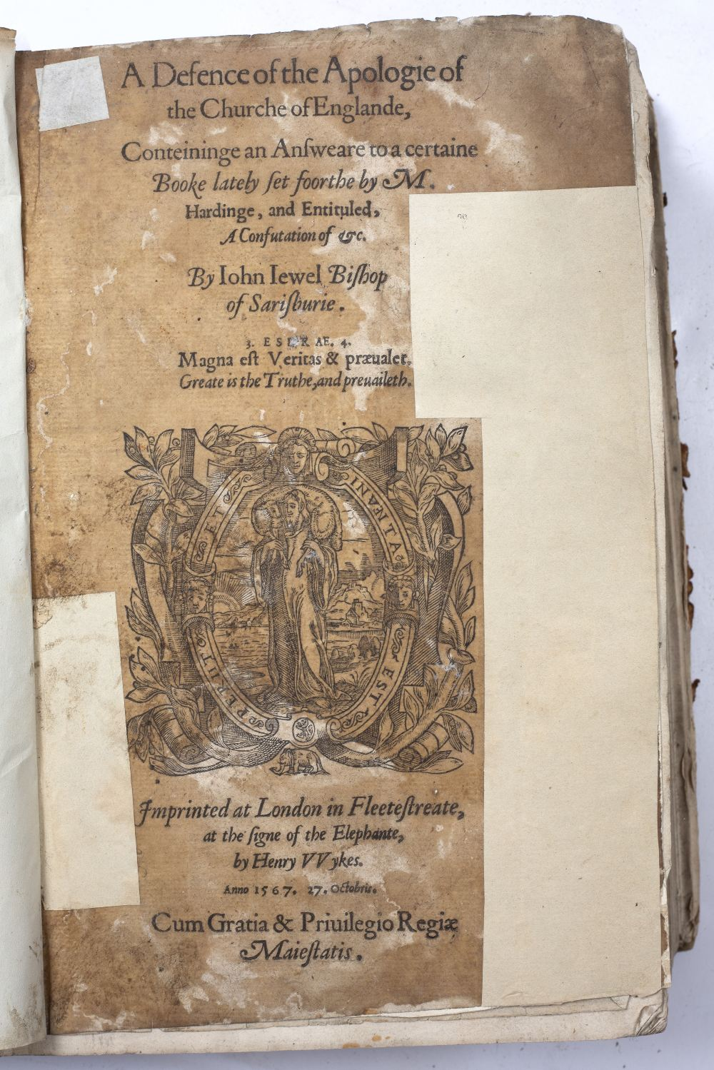 JEWEL, John (1522-1571), Bishop of Salisbury 'A Defence of the Apologie of the Church of Englande,