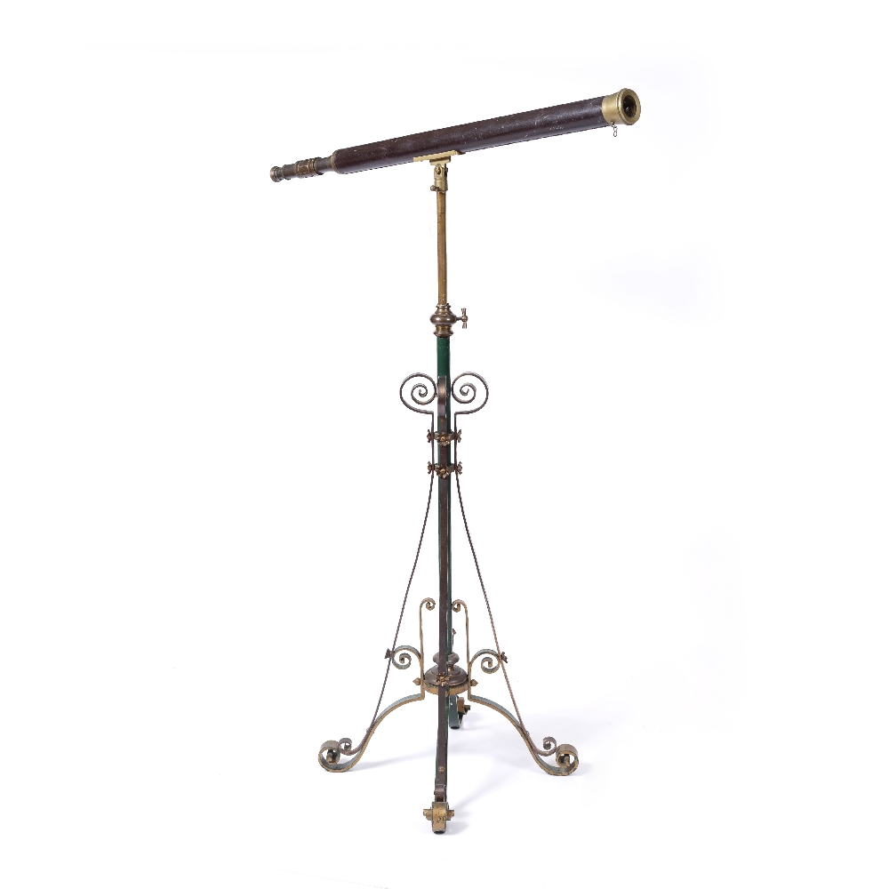 A VICTORIAN LEATHER AND BRASS TELESCOPE with single telescopic draw adjusting by a collar, upon a