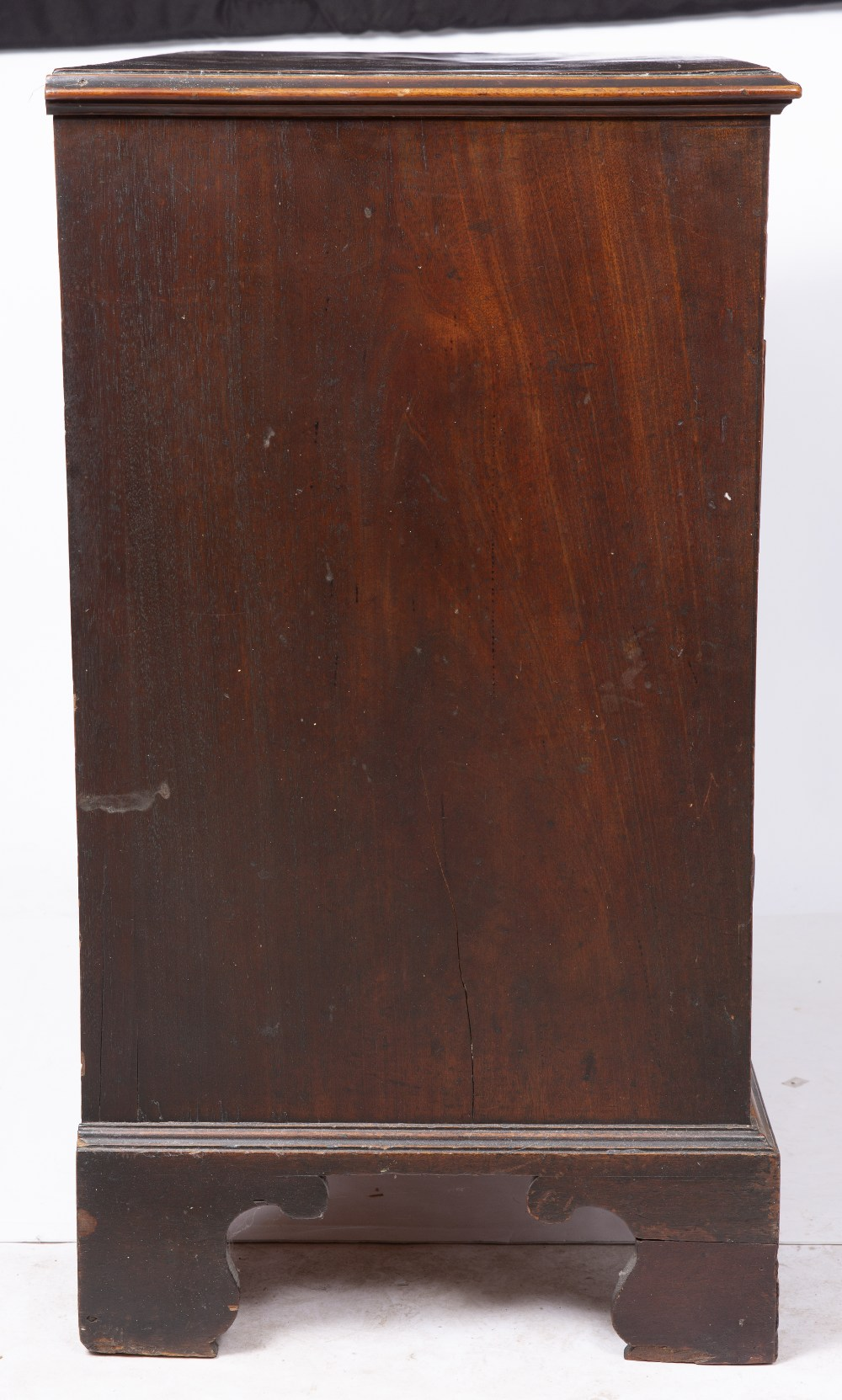 A GEORGE III MAHOGANY CHEST, the top with a moulded edge above four graduated long drawers, ogee - Image 3 of 6