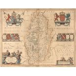 BLAEU Nottinghamshire, engraving with decorative figural title cartouche and armorials, hand-