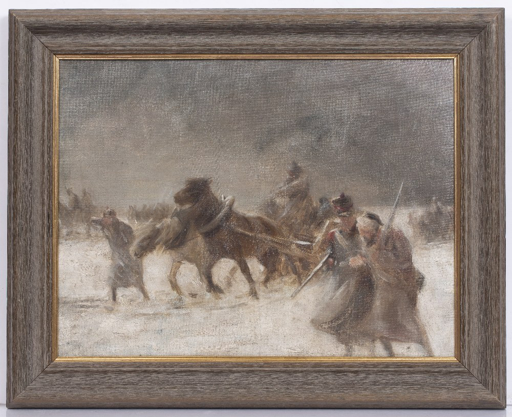 20TH CENTURY ENGLISH SCHOOL A military scene, reputedly Napoleon's retreat from Moscow, oil on - Image 2 of 3