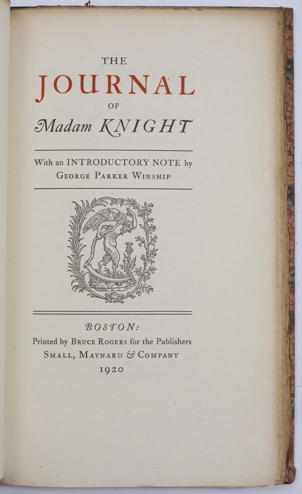 'THE PRIVATE JOURNAL OF MADAM KNIGHT' with an introductory note by George Parker Winship. Small - Image 2 of 3