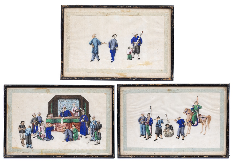 A SET OF THREE CHINESE RICE PAPER PICTURES of figural subjects, 23 x 35cm (3)