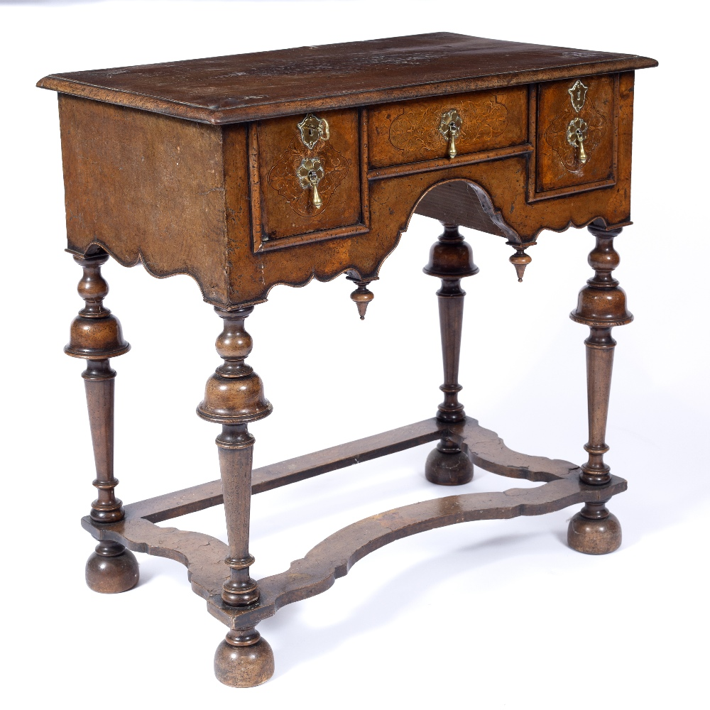 AN 18TH CENTURY STYLE WALNUT AND INLAID LOWBOY, the top and drawers with foliate marquetry angles, - Image 3 of 5