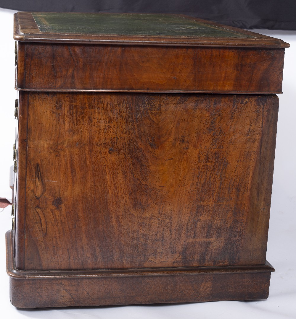A MID VICTORIAN BURR AND FIGURED WALNUT PEDESTAL DESK with green leather inset top fitted with one - Image 3 of 5
