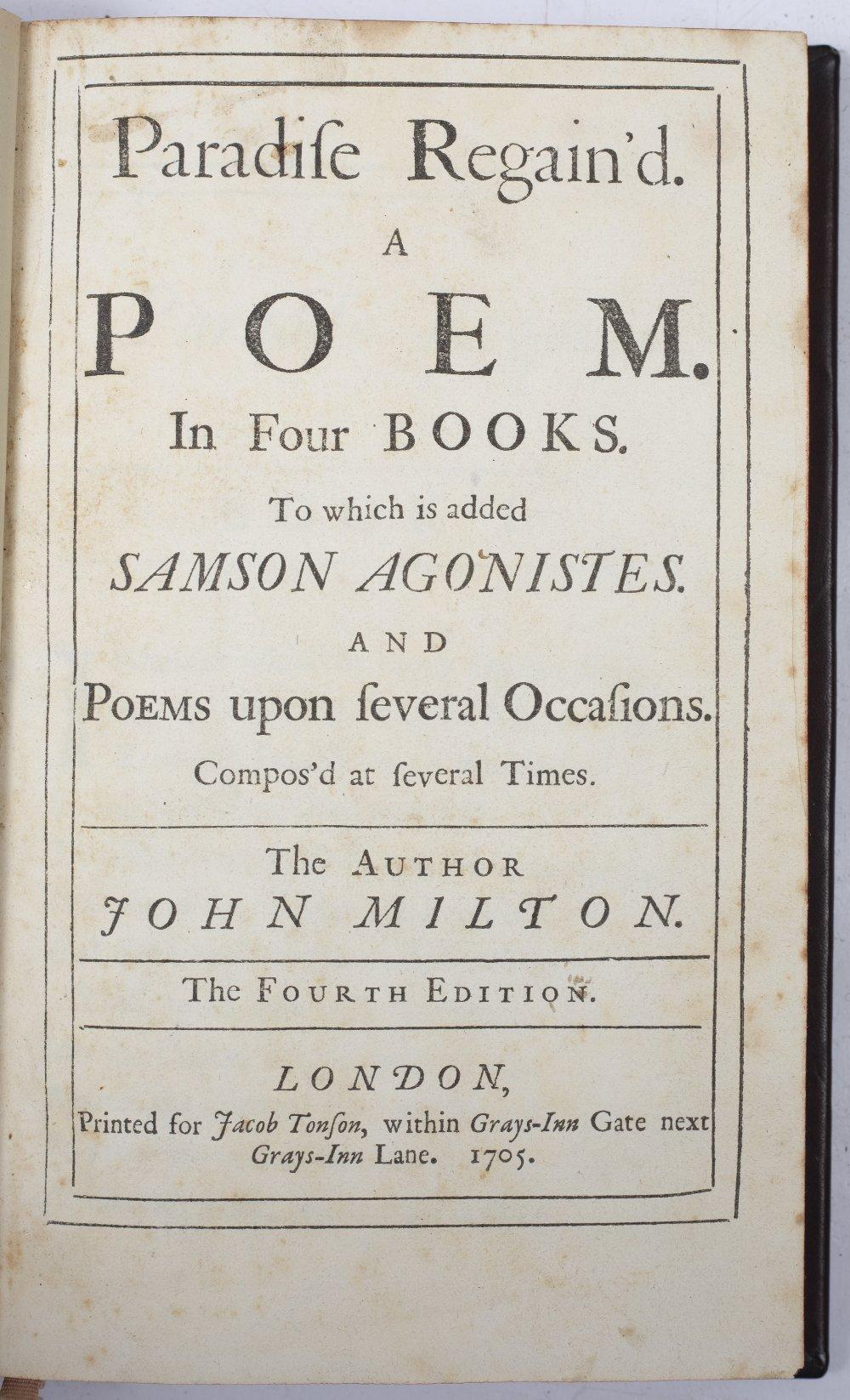 MILTON, John (1608-1674), English Poet 'Paradise Regained'. 4th Ed. Jacob Tonson, London 1705.
