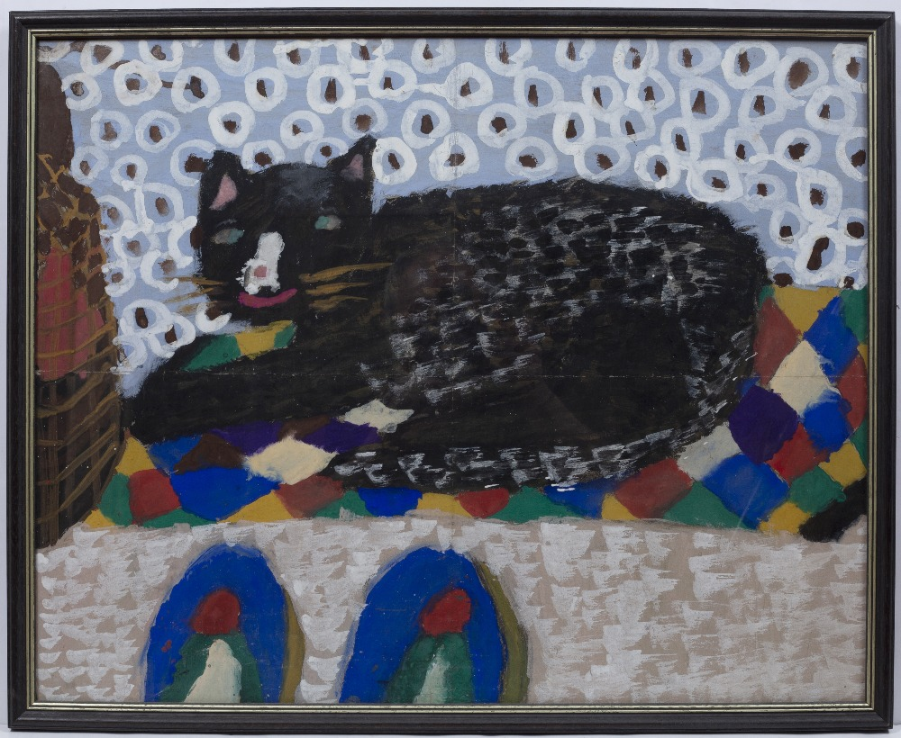NAIVE/PRIMITIVE SCHOOL: Study of a recumbent black cat with white nose 'Cats Corner', poster paint - Image 2 of 3