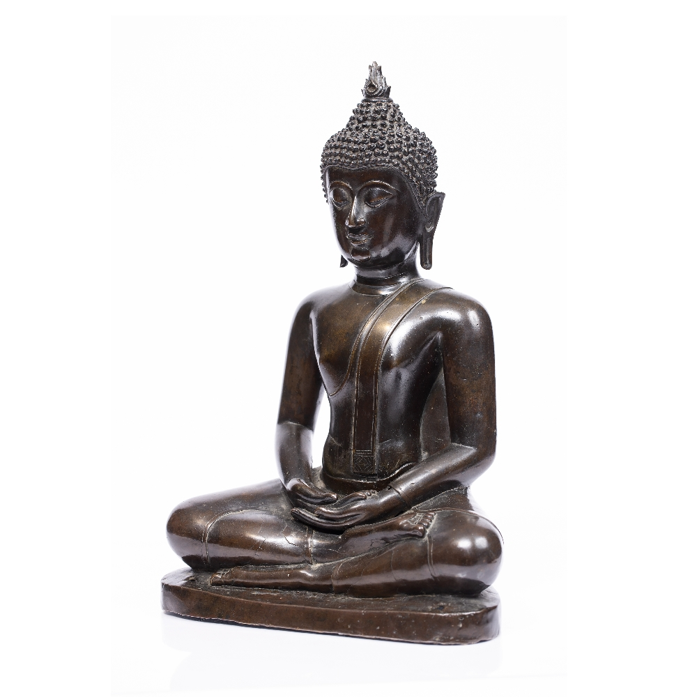 A LARGE BRONZE BUDDHA seated upon a stepped base with holes for attachment to a larger architectural