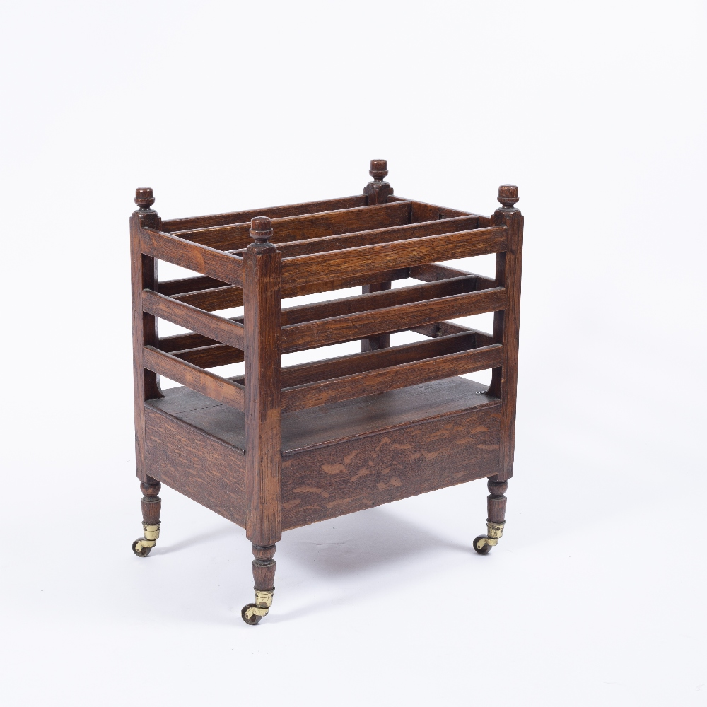 A 19TH CENTURY OAK CANTERBURY with slatted divisions, end drawer, turned legs, brass terminals, - Image 3 of 3