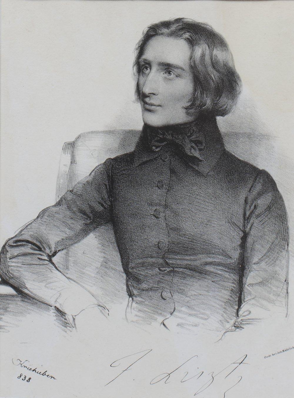 JOSEF KRIEHUBER (1801-1876) Franz Liszt, lithograph, 23 x 17cm