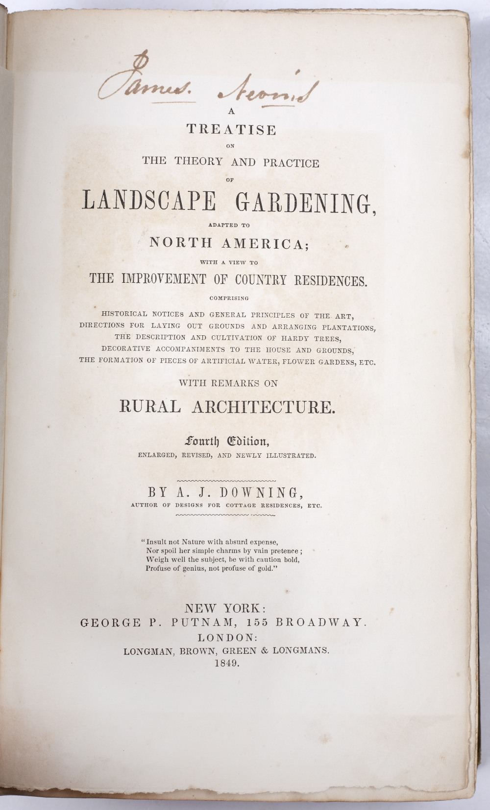 KEMP, Edward, 'How To Lay Out A Garden'. 3rd Ed. Bradbury and Evans, London 1850. green cloth plus - Image 2 of 3