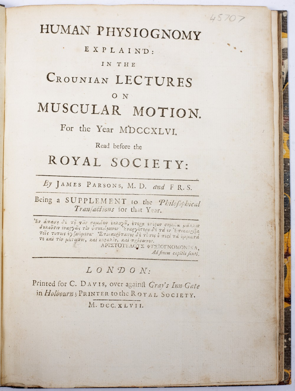 PARSONS, James, Human Physiognomy Explained in the Crounian Lectures on Muscular Motion read - Image 3 of 6