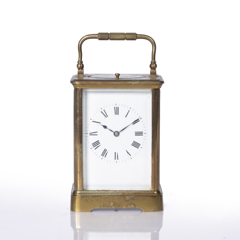 A LATE 19TH CENTURY FRENCH CARRIAGE CLOCK with white enamel Roman dial, silvered platform lever