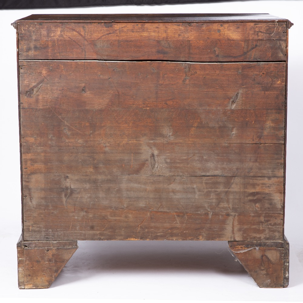 A GEORGE III MAHOGANY CHEST, the top with a moulded edge above four graduated long drawers, ogee - Image 4 of 6