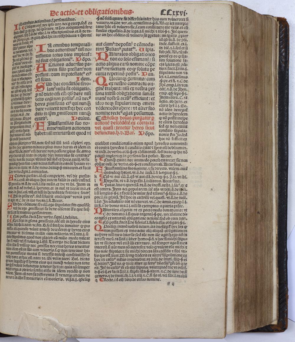 BOUCARD, ANDREAS (Ed.), Justinian, Digestorum Seu Pandectar, Joannis Petit, Paris 1525. 12 books - Image 3 of 5