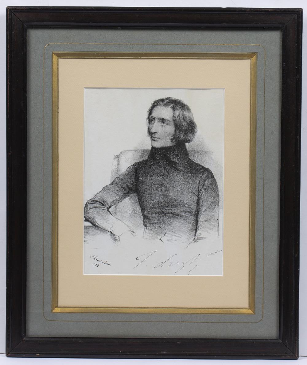 JOSEF KRIEHUBER (1801-1876) Franz Liszt, lithograph, 23 x 17cm - Image 2 of 2