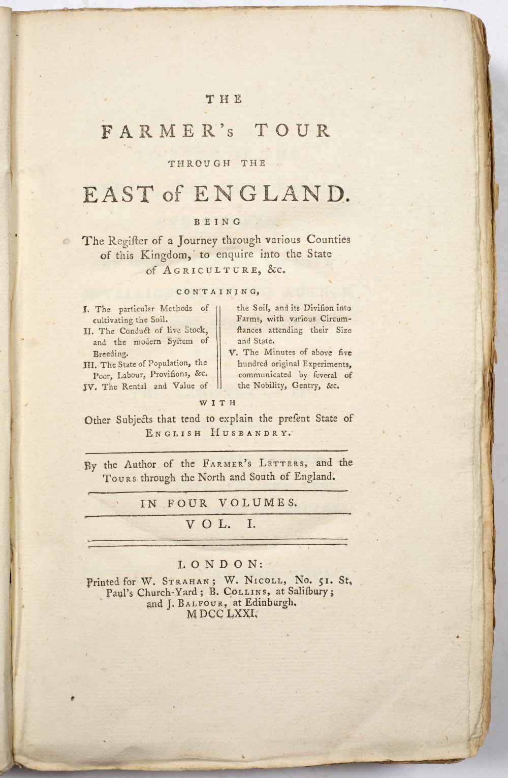 YOUNG, Arthur (1741-1820) and STRAHAN, William (1715-1785), 'The Farmer's Tour throughout the East