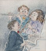 JACKIE DEVEREUX (20TH CENTURY) A Musical Trio, signed, pencil, ink and watercolour, 22.5 x 20.5cm