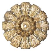 AN EARLY 19TH CENTURY CIRCULAR GILT METAL CEILING BOSS of acanthus leaf form, 43cm diameter