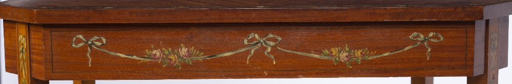 AN EDWARDIAN SATINWOOD OCCASIONAL TABLE, the rectangular top with canted corners and crossbanded - Image 8 of 8