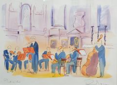 PHIL JOHNS (20TH CENTURY) 'Placido and Quartet', two lithographs, each with hand-colouring, pencil
