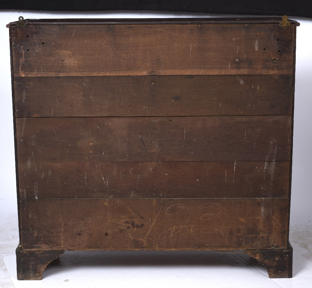 A GEORGE III MAHOGANY LIBRARY CHEST of narrow form, the moulded top above ten short and one long - Image 3 of 5
