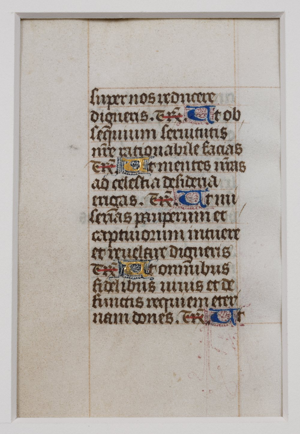 A MEDIEVAL DOUBLE SIDED LEAF FROM AN ENGLISH BOOK OF HOURS c1450, each side with 14 lines of - Image 2 of 2