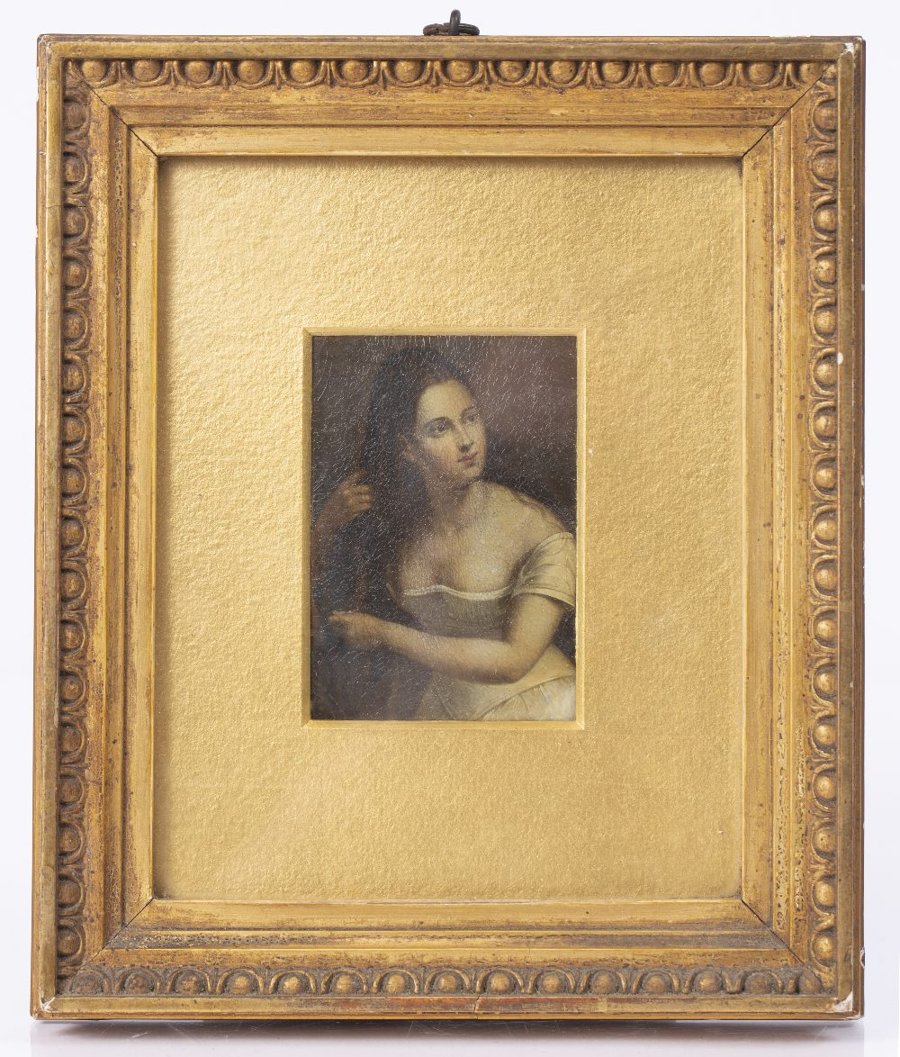 A 19TH CENTURY PAPIER-MACHE PANEL painted with female beauty attending to her long hair, 8 x 5.5cm - Image 2 of 3