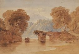 CIRCLE OF ANTHONY VAN DYKE COPLEY FIELDING (1787-1855) A collapsed arched river bridge, watercolour,