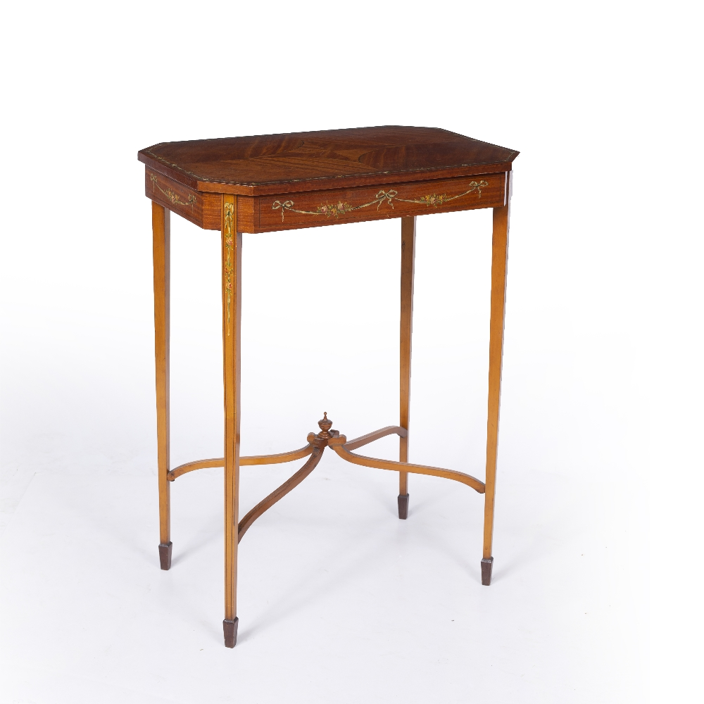 AN EDWARDIAN SATINWOOD OCCASIONAL TABLE, the rectangular top with canted corners and crossbanded
