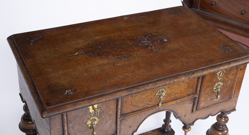 AN 18TH CENTURY STYLE WALNUT AND INLAID LOWBOY, the top and drawers with foliate marquetry angles, - Image 5 of 5