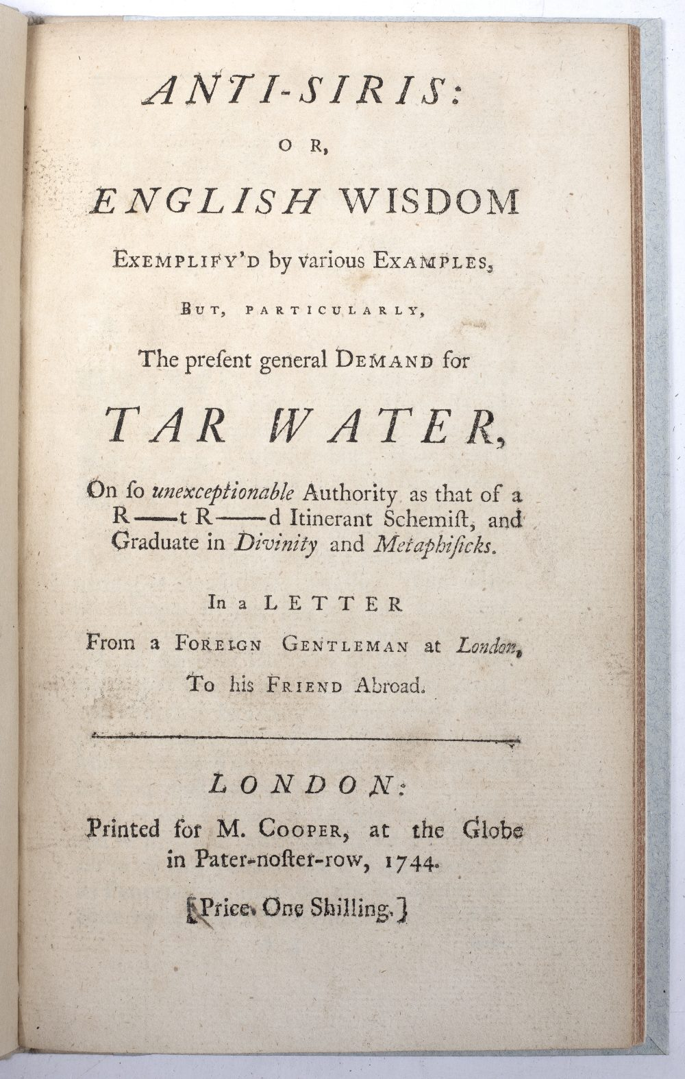 TWO 18TH CENTURY MEDICAL PAMPHLETS: 'Anti-Siris or English Wisdom exlemplify'd by various examples - Image 2 of 2
