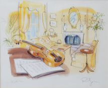PHIL JOHNS (20TH CENTURY) 'Violin', lithograph with hand-colouring, pencil signed and titled in