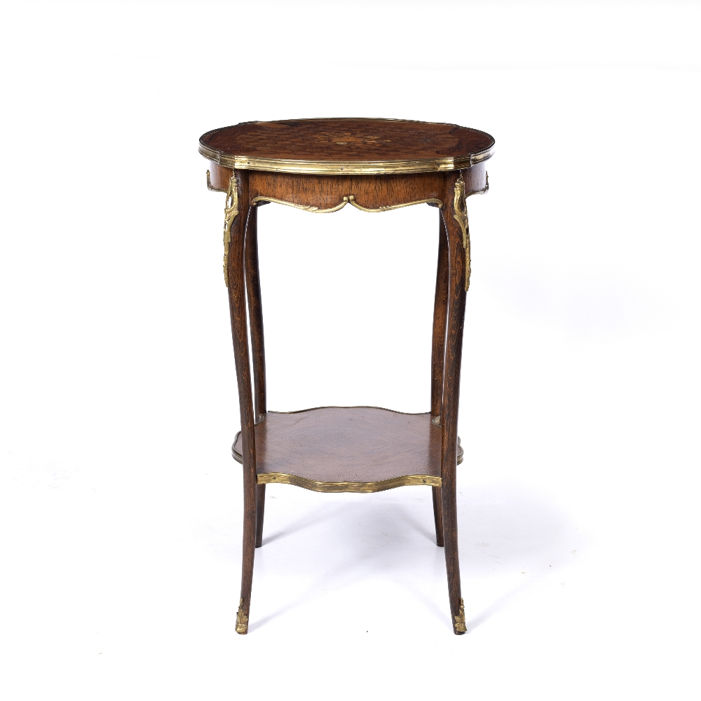 A LOUIS XV STYLE ROSEWOOD AND BEECHWOOD TWO TIER SHAPED CIRCULAR OCCASIONAL TABLE, the top inlaid - Image 2 of 6