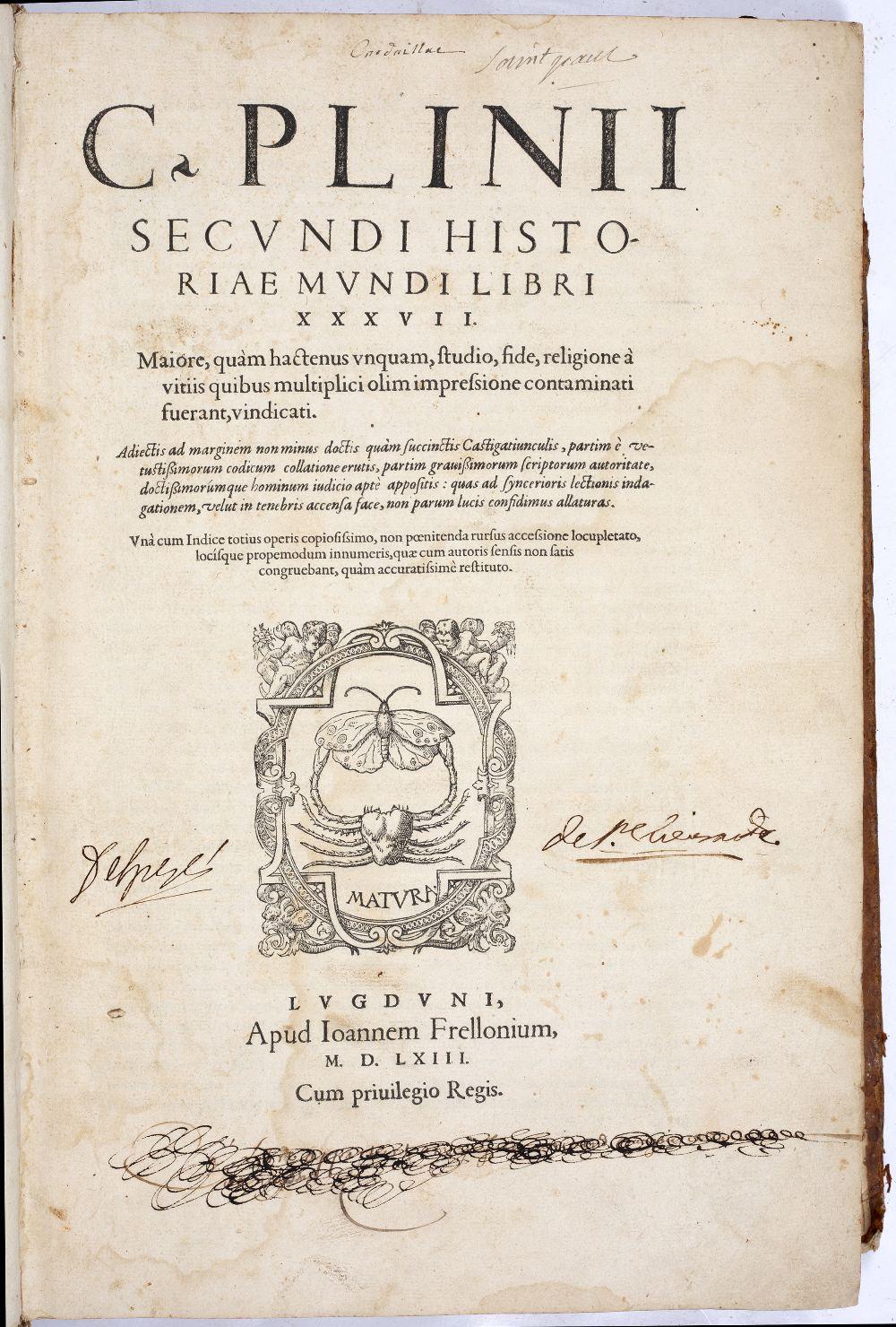 PLINY THE ELDER, Gaius Plinius Secundus, Historiae Mundi. Thirty seven books in one volume. 679pp.