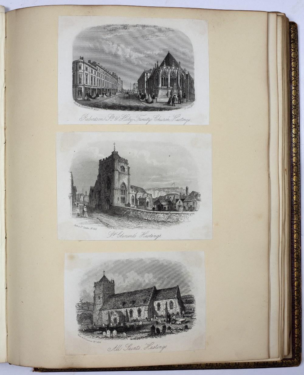 A VICTORIAN SCRAP ALBUM containing sketches, postcards, prints etc., Isle of Wight, London, etc.