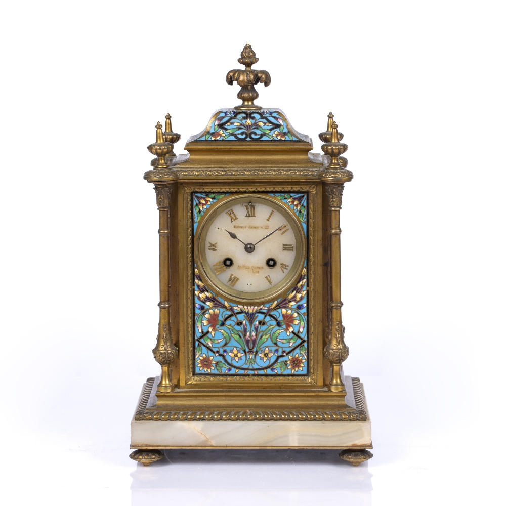 A VICTORIAN GILT BRASS AND POLYCHROME CLOISONNE ENAMEL MANTEL CLOCK the pale agate dial with gilt