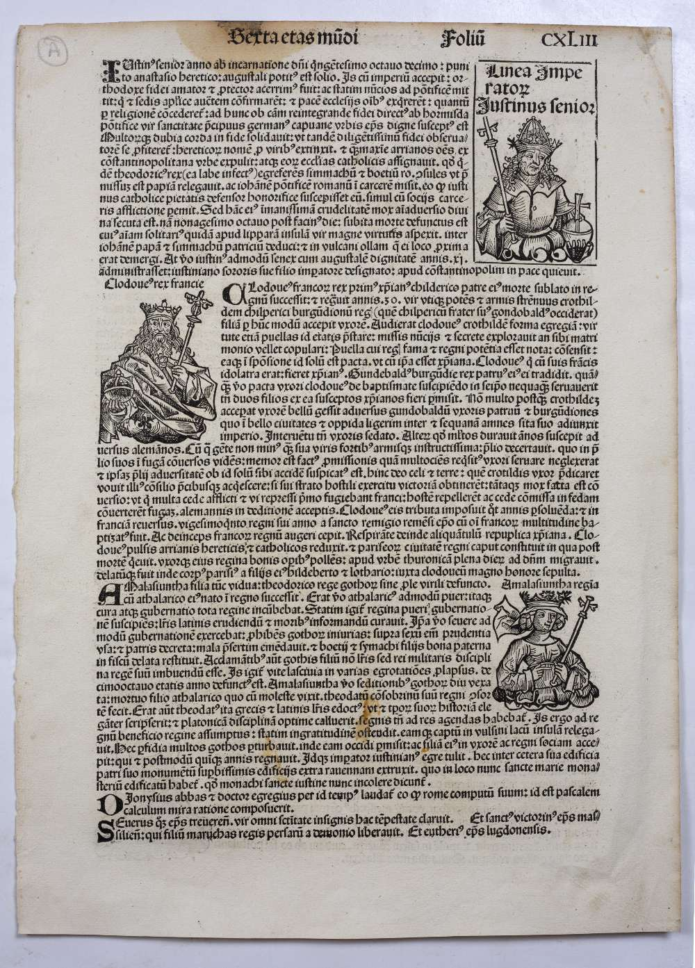 THREE FOLIO DOUBLE SIDED PAGES FROM LIBER CHRONICARUM OR NUREMBERG CHRONICLE headed Serta Etas - Image 4 of 6