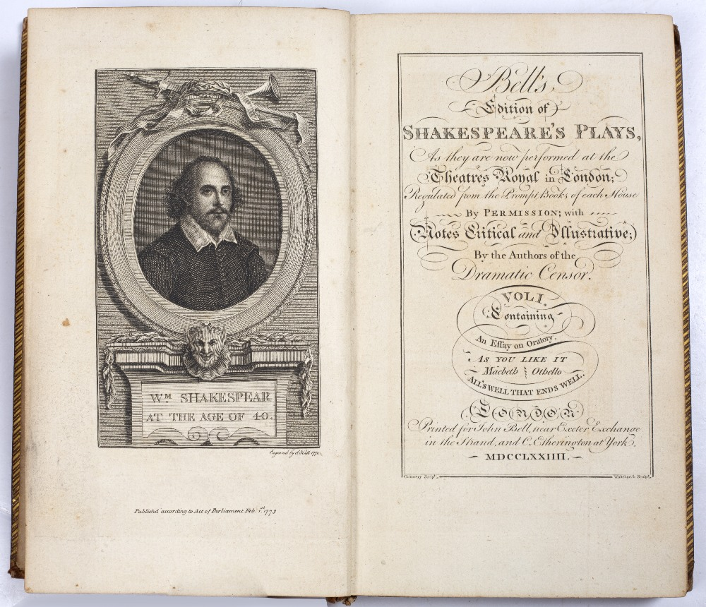 BELL, John, Ed. Shakespeare's Plays and Poems. 9 vols. 8vo. London 1774. with frontispiece - Image 2 of 2