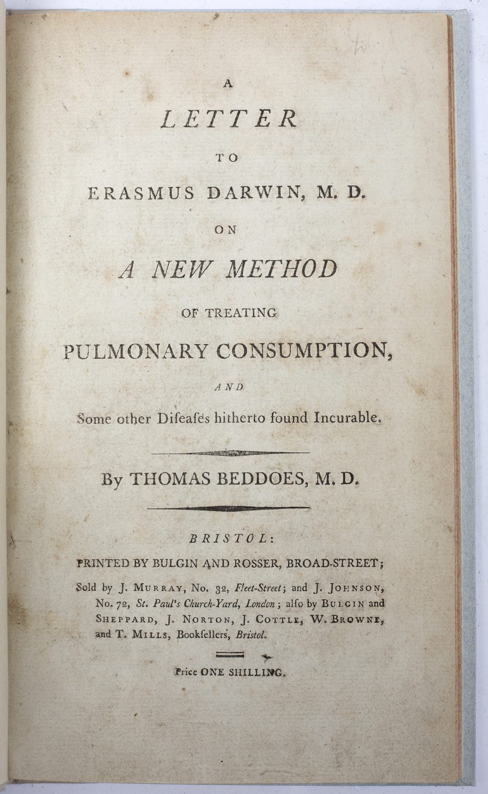 AN 18TH CENTURY MEDICAL PAMPHLET: BEDDOES, Thomas, 'A Letter to Erasmus Darwin M.D. on a new