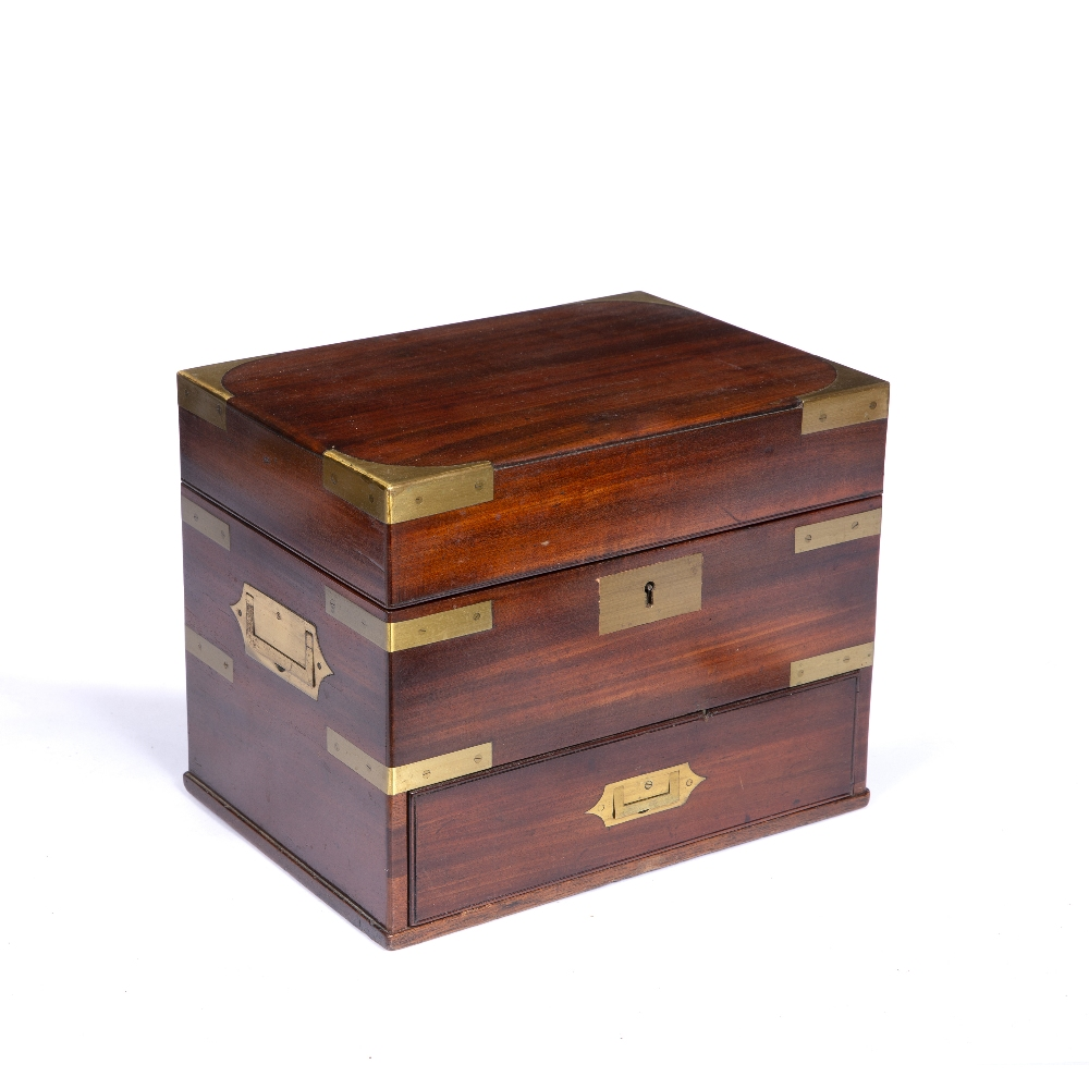 A GEORGE III MAHOGANY AND BRASS MOUNTED TABLE TOP BOX with hinged lid, drawer below and recessed