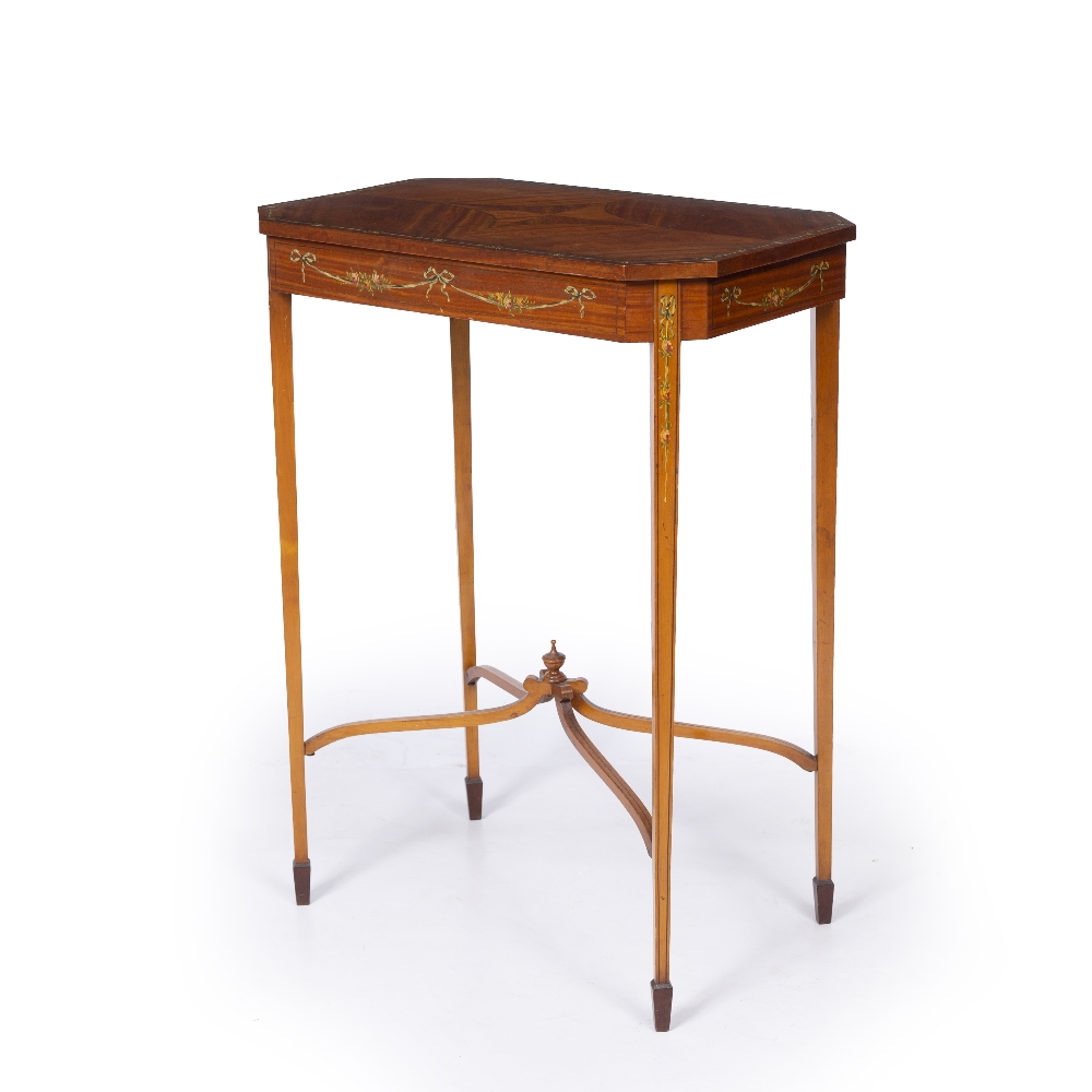 AN EDWARDIAN SATINWOOD OCCASIONAL TABLE, the rectangular top with canted corners and crossbanded - Image 2 of 8