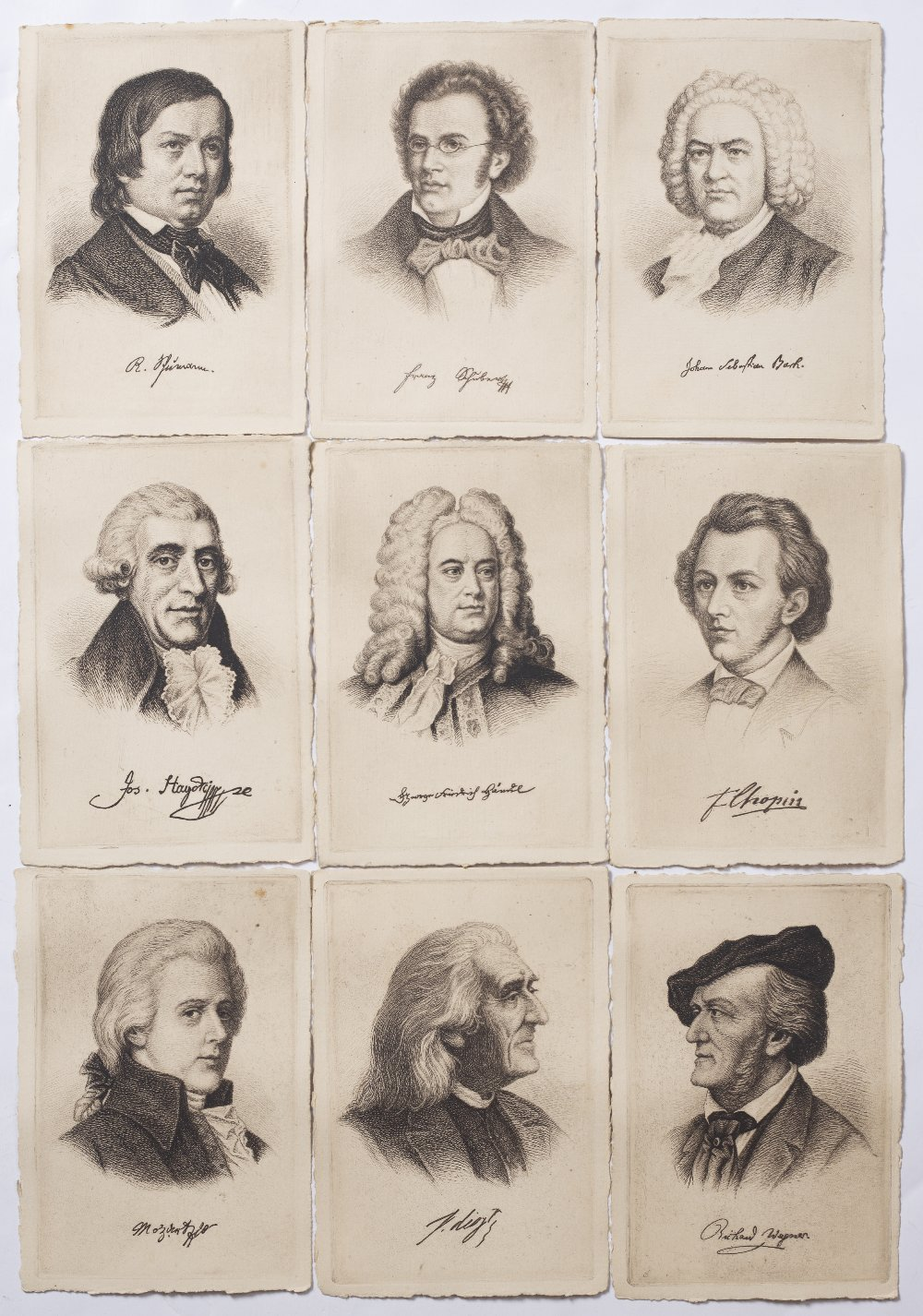 A COLLECTION OF NINE EARLY 20TH CENTURY ETCHINGS, each depicting a composer to include: Bach,