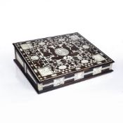 AN 18TH CENTURY ITALIAN ROSEWOOD AND IVORY WRITING SLOPE the top, front, sides and back with