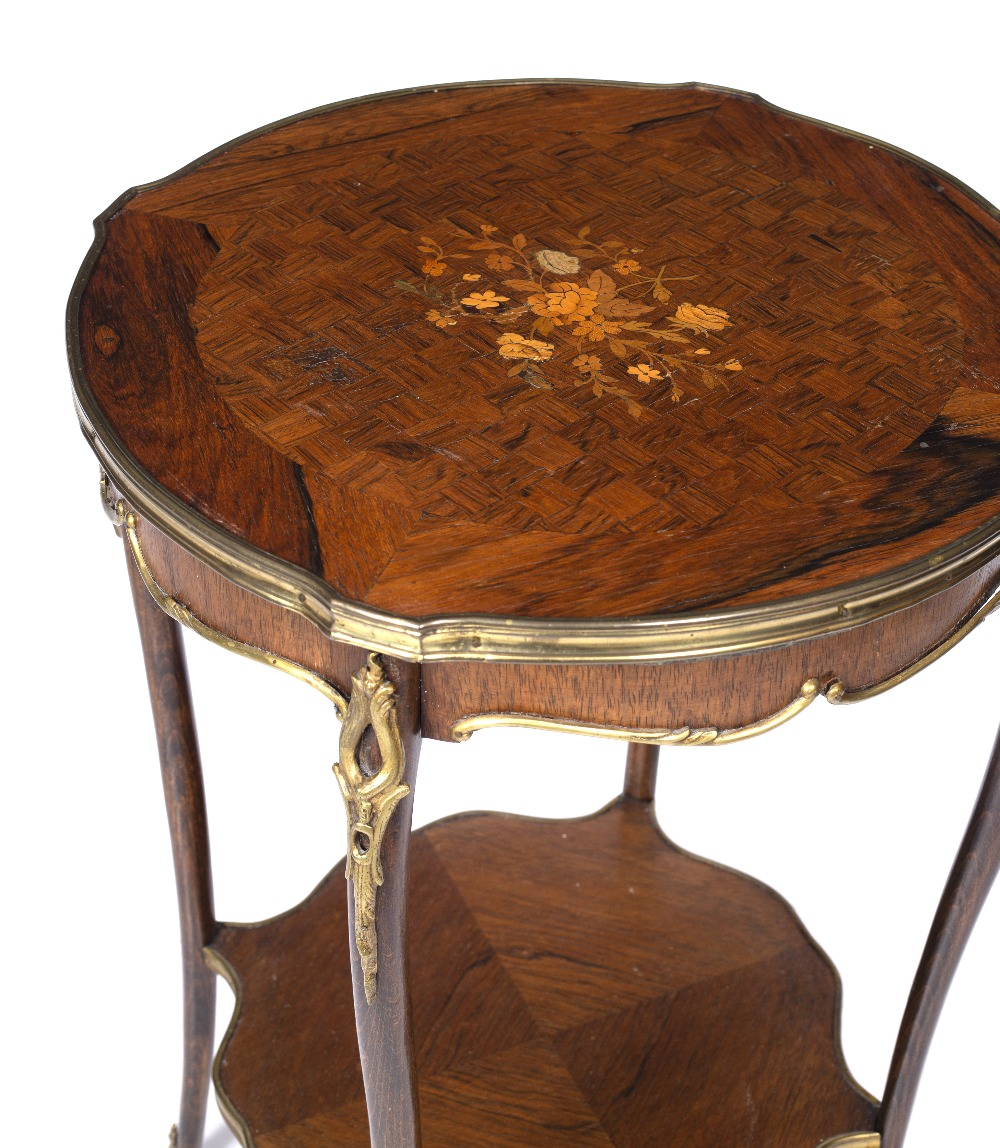 A LOUIS XV STYLE ROSEWOOD AND BEECHWOOD TWO TIER SHAPED CIRCULAR OCCASIONAL TABLE, the top inlaid - Image 5 of 6