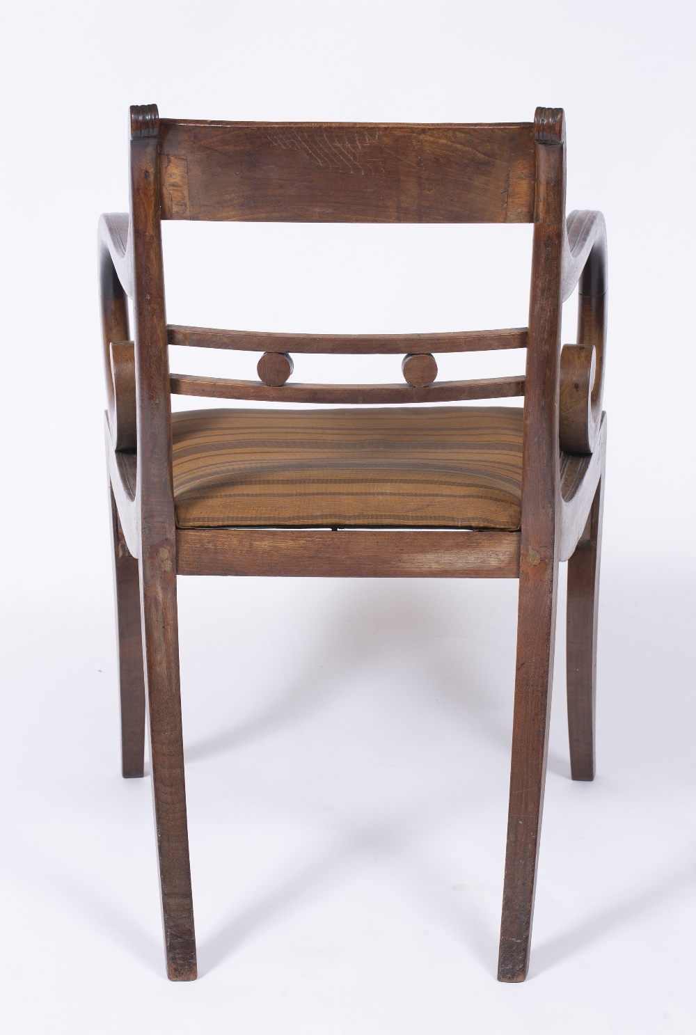 A REGENCY MAHOGANY OPEN ARM ELBOW CHAIR, the horizontal centre rail with carved florettes, - Image 4 of 4