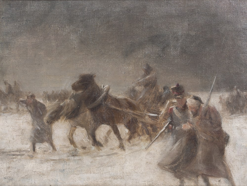 20TH CENTURY ENGLISH SCHOOL A military scene, reputedly Napoleon's retreat from Moscow, oil on