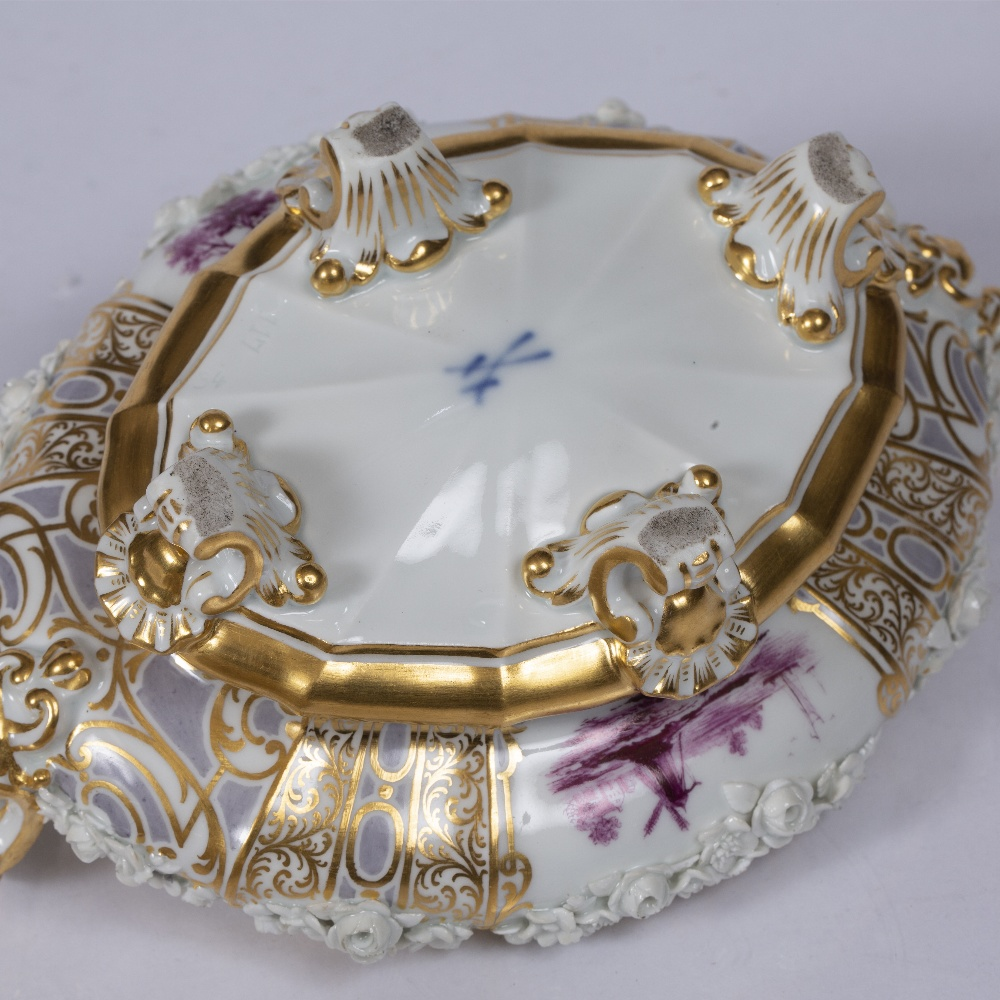 A MEISSEN SHAPED OVAL AND GILDED TUREEN AND COVER in the 18th Century style with crown finial - Image 3 of 3