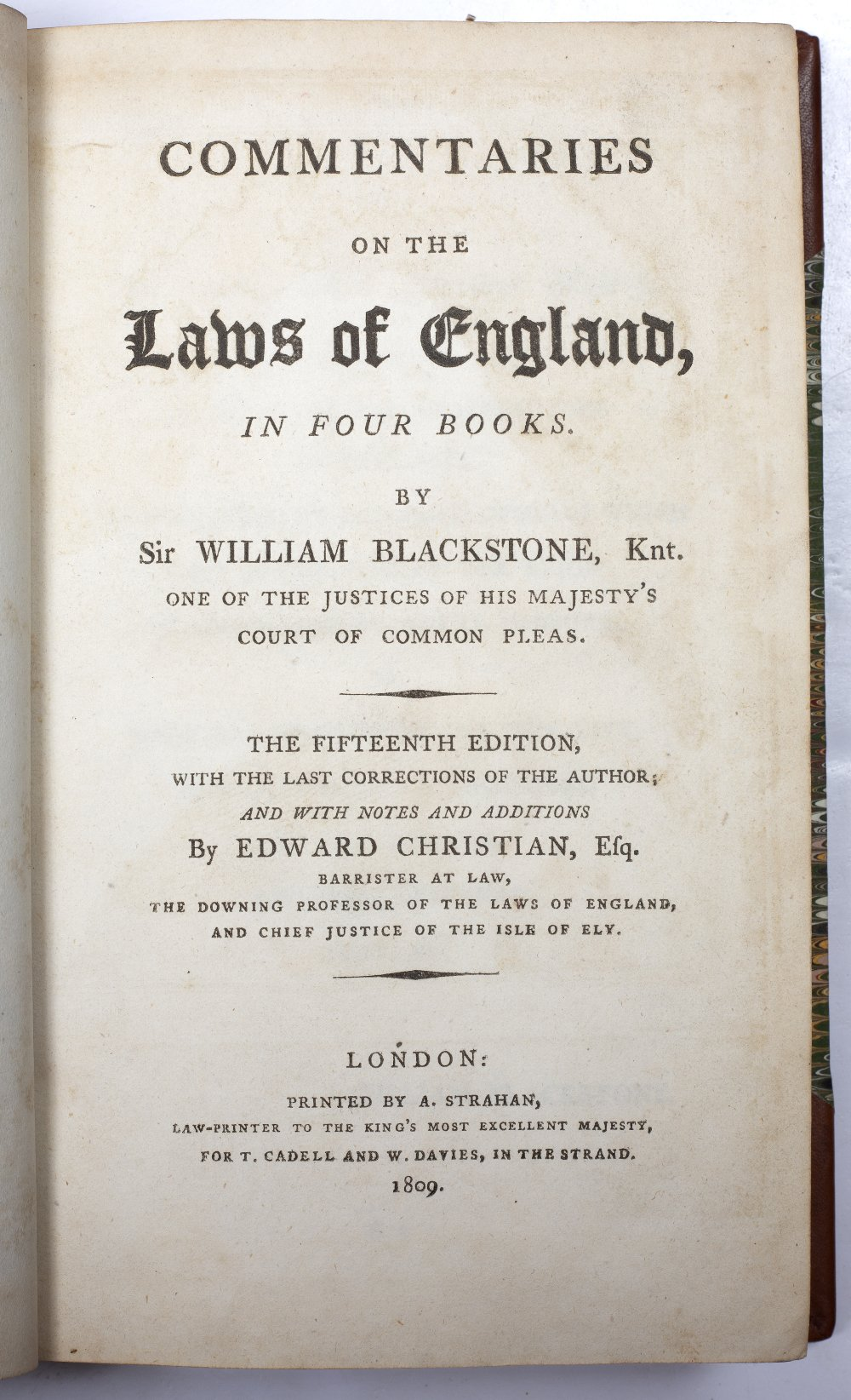 BLACKSTONE, William, 'Commentaries on the Laws of England' Strahan, London 1809. 4 vols. Thick - Image 2 of 2