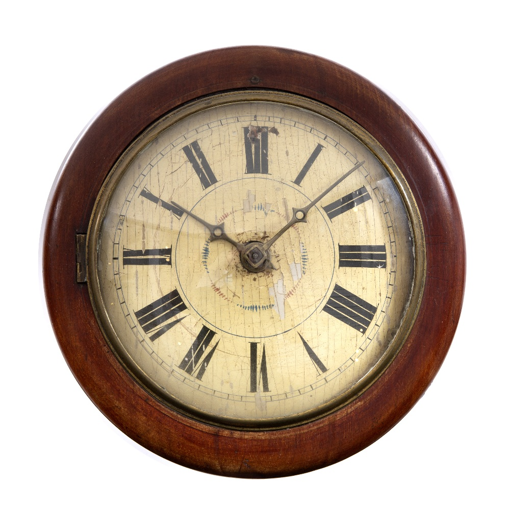 A 19TH CENTURY BLACK FOREST WALL CLOCK with painted Roman dial, brass hands, bell strike, two iron